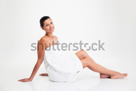 Stock photo: Attractive woman in towel sitting on the floor