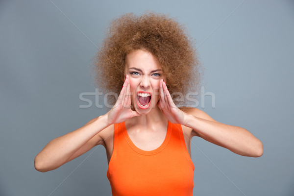 Portret zły wściekły młodych krzyczeć Zdjęcia stock © deandrobot