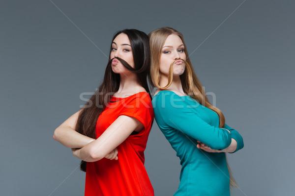2 面白い 女性 口ひげ 髪 ストックフォト © deandrobot