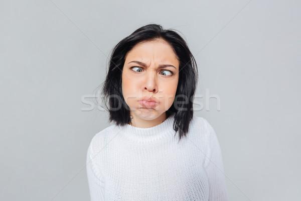Stock fotó: Nő · készít · vicces · arc · vicces · őrült · arc