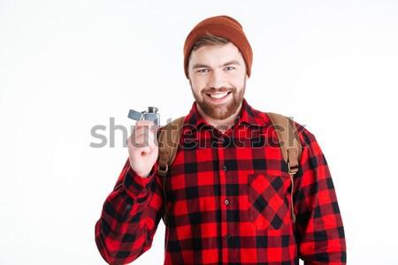 Stockfoto: Gelukkig · mannelijke · reiziger · alcohol