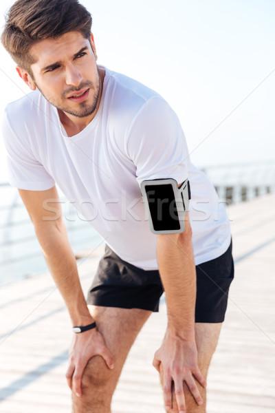 Сток-фото: портрет · исчерпанный · молодые · спортсмен · устал · работает