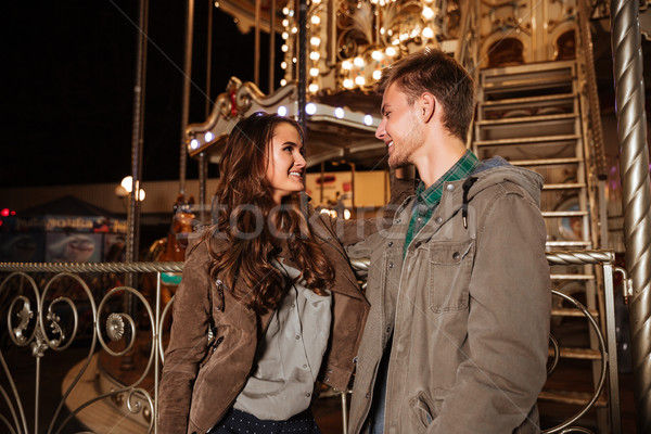 カップル 遊園地 見える その他 幸せ 女性 ストックフォト © deandrobot