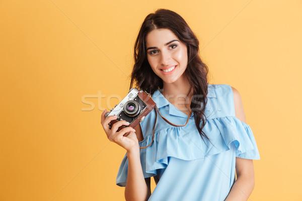 Retrato sorridente jovem morena menina Foto stock © deandrobot