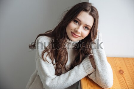 Young model in sweater near the window Stock photo © deandrobot