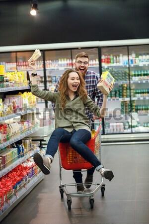 Concentrato donna supermercato prodotti foto Foto d'archivio © deandrobot