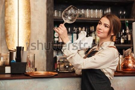 вид сбоку человека Постоянный Бар телефон кафе Сток-фото © deandrobot