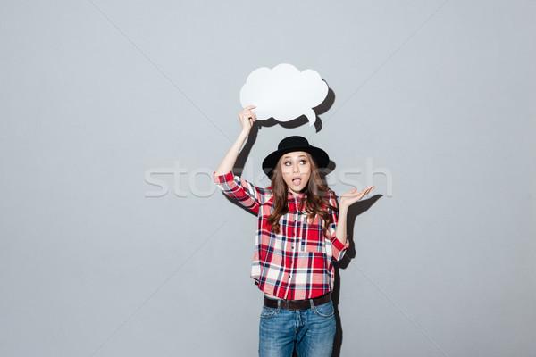 Jonge dame gedachten bubble afbeelding Stockfoto © deandrobot