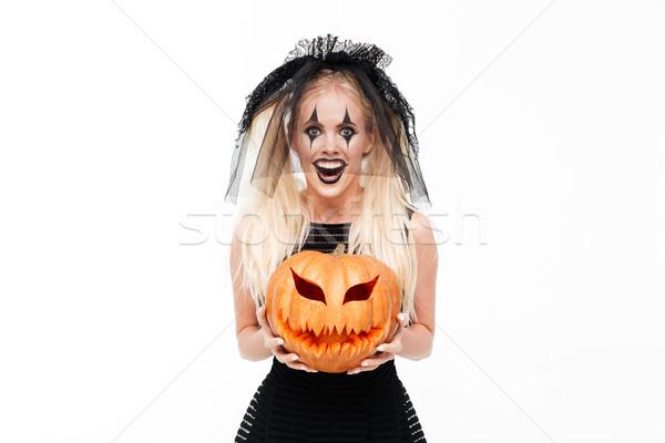 Crazy улыбающаяся женщина черный вдова костюм Сток-фото © deandrobot