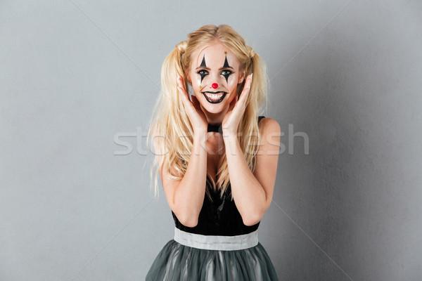 Portré boldog szőke nő halloween bohóc smink Stock fotó © deandrobot