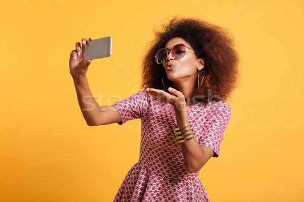 портрет довольно молодые афро американский Сток-фото © deandrobot