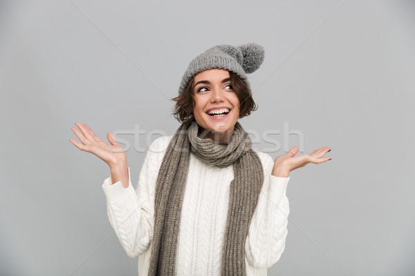 肖像 笑みを浮かべて 少女 スカーフ 帽子 ポーズ ストックフォト © deandrobot