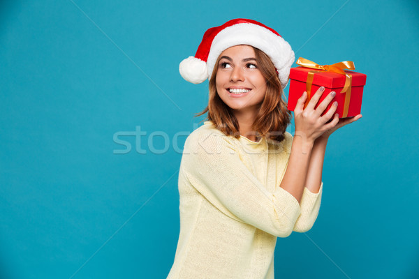 Smiling intrigued woman in sweater and christmas hat holding gift Stock photo © deandrobot