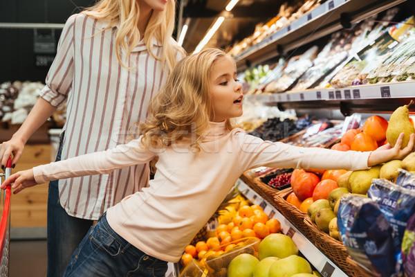 Stok fotoğraf: Anne · kız · alışveriş · bakkal · kadın · aile