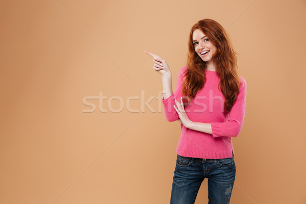 Stok fotoğraf: Portre · mutlu · genç · kız · işaret