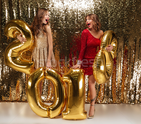 Full length portrait of two attractive girls in shiny dresses Stock photo © deandrobot