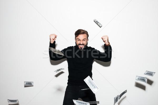 肖像 あごひげを生やした 男 祝う 成功 ストックフォト © deandrobot