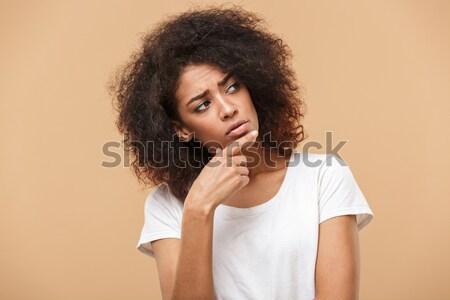 肖像 沈痛 小さな アフリカ 女性 ストックフォト © deandrobot