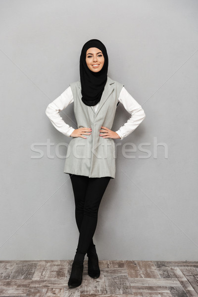 Full length portrait of gorgeous arabic woman in traditional sca Stock photo © deandrobot
