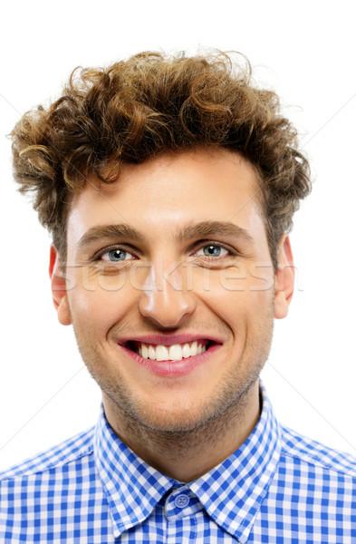 Portre mutlu adam kıvırcık saçlı beyaz gülümseme Stok fotoğraf © deandrobot