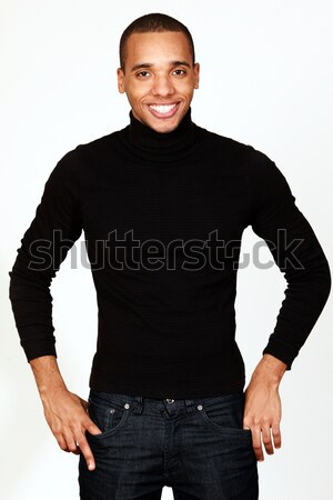 Young happy african-american casual man isolated on white background Stock photo © deandrobot