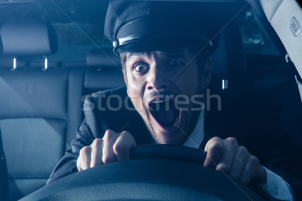 Chauffeur voiture crash Homme ridicule visage Photo stock © deandrobot