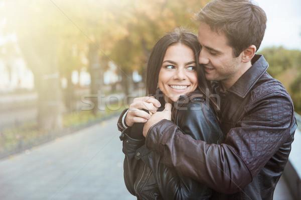 çift portre mutlu sonbahar Stok fotoğraf © deandrobot
