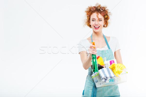 主婦 洗剤 スプレー 孤立した 白 女性 ストックフォト © deandrobot