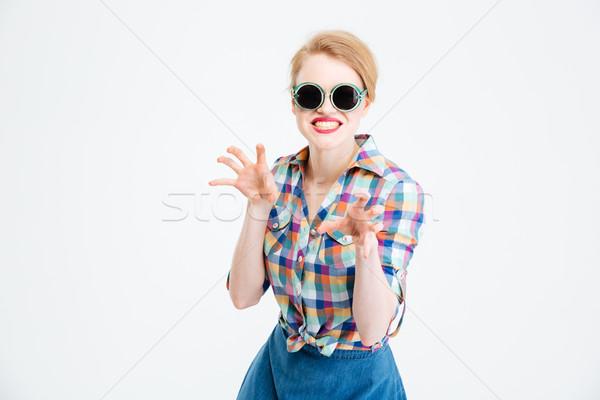 Kobieta przerażający odizolowany biały włosy krowy Zdjęcia stock © deandrobot