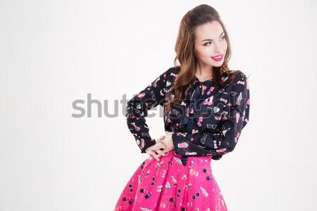 Sensueel jonge vrouw permanente roze zonnebril Stockfoto © deandrobot