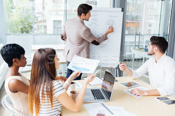 Business team creating presentation using flipchart in office Stock photo © deandrobot