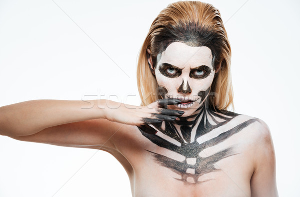 Portré fiatal nő gótikus csontváz smink fehér Stock fotó © deandrobot