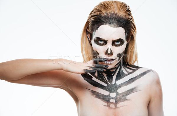 Retrato mulher jovem gótico esqueleto make-up branco Foto stock © deandrobot