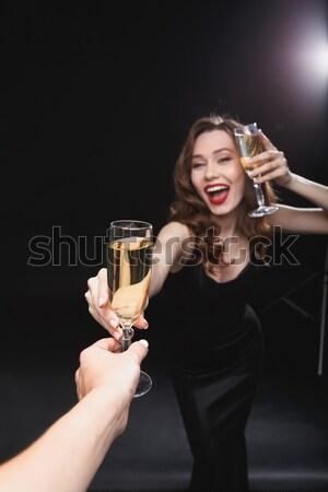 Femme potable champagne star Photo stock © deandrobot