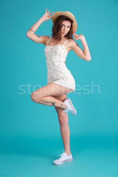 портрет счастливым женщину Сток-фото © deandrobot