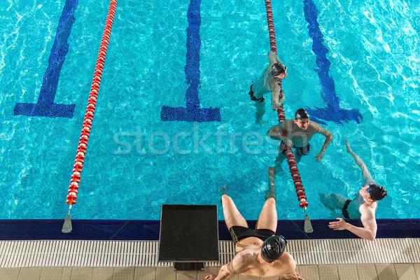 Quattro maschio piscina fitness sfondo Foto d'archivio © deandrobot