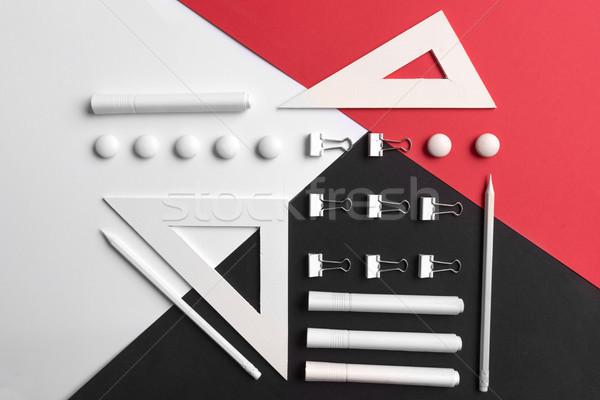 Branco vermelho preto tabela imagem Foto stock © deandrobot