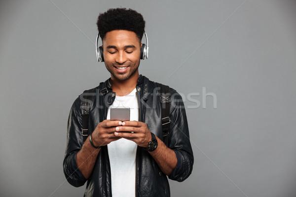 портрет улыбаясь молодые афро американский человека Сток-фото © deandrobot