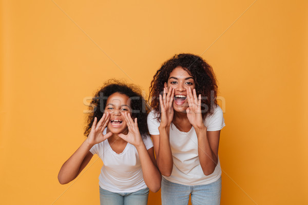 Portrait of a two cheery afro american sisters shouting Stock photo © deandrobot