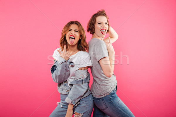 Ladies friends standing isolated showing rock gesture and tongue. Stock photo © deandrobot