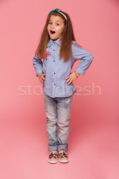 Retrato feliz femenino nino de moda ropa Foto stock © deandrobot