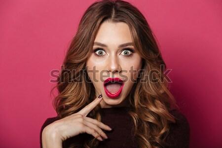 Portrait confondre brun femme lumineuses Photo stock © deandrobot