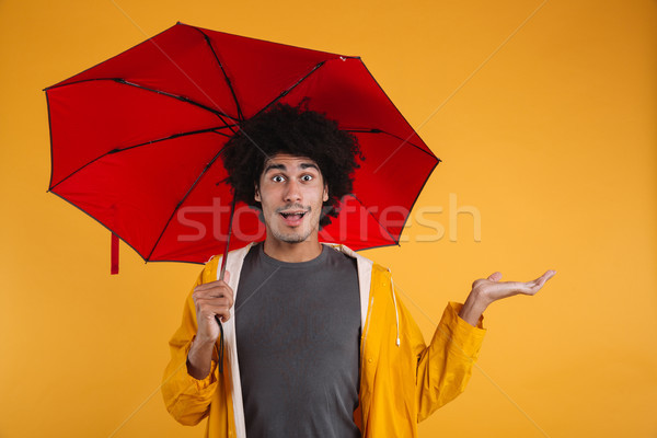 Portrait of an exciting afro american man dressed in raincoat Stock photo © deandrobot