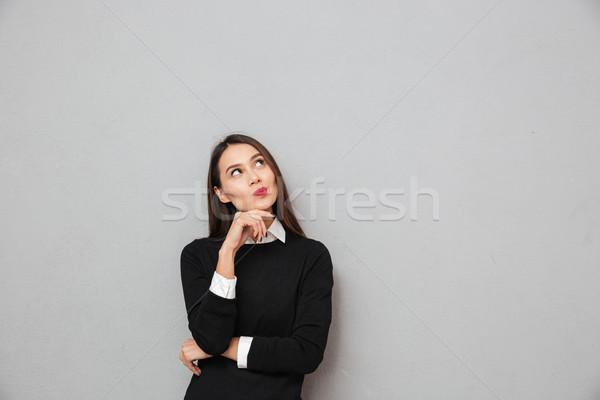 Zamyślony asian business woman działalności ubrania Zdjęcia stock © deandrobot