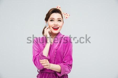 портрет удивленный счастливая девушка копия пространства изолированный Сток-фото © deandrobot