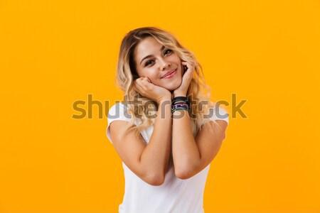 портрет улыбаясь довольно девушки черное платье позируют Сток-фото © deandrobot