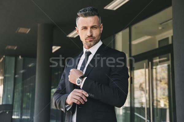 Portret udany młodych biznesmen garnitur stałego Zdjęcia stock © deandrobot