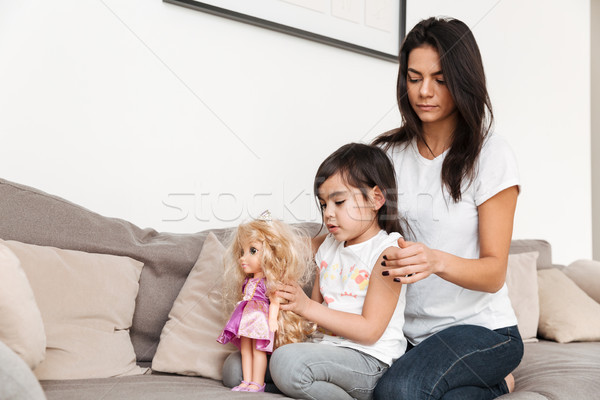 Portrait of gorgeous family mother and child spending time toget Stock photo © deandrobot