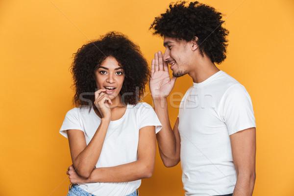 портрет возбужденный молодые афро американский пару Сток-фото © deandrobot