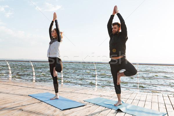Sağlıklı genç spor çift yoga Stok fotoğraf © deandrobot